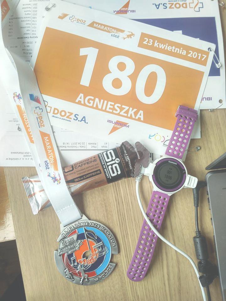 medal maratonu zegarek żel numer startowy